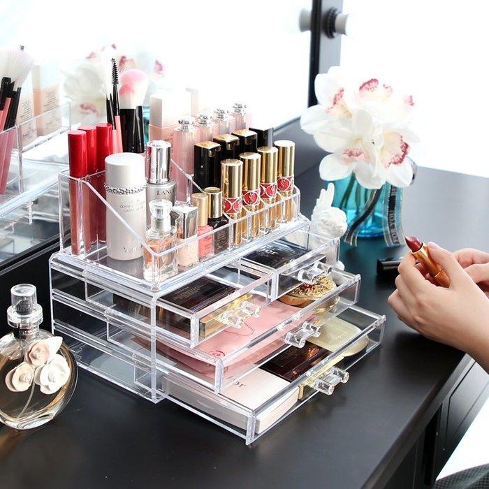 網紅桌面化妝品收納盒抽屜式架子塑料亞克力首飾盒大號護膚女宿舍-青木居家