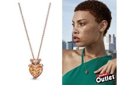 【全球購.COM】PANDORA 潘朵拉 玫瑰金新款閃亮的母獅心形項鍊(60CM) 925純銀 美國正品代購