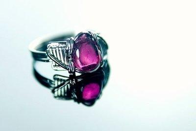 □§Disk的天然水晶§□【寶石級】天然高檔紅寶碧璽925純銀戒指# 14(內徑18mm)V-1