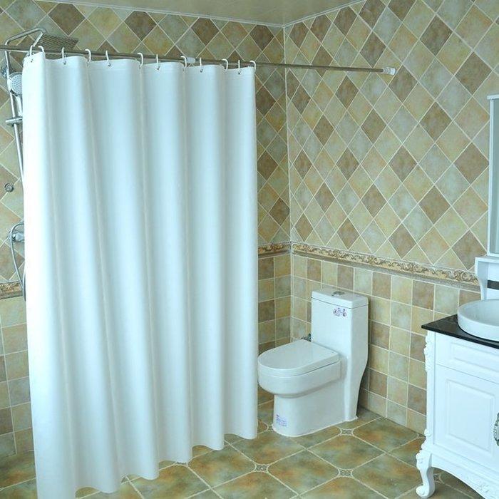 酒店衛生間純白色浴簾布防水加厚簾子門簾窗簾浴室遮擋掛簾拉簾