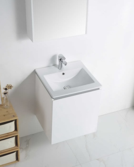 《E&J網》MooE V1-50WH 防水發泡板 浴櫃 + 臉盆 50cm臉盆鋼烤浴櫃組 單開門 詢問另有優惠