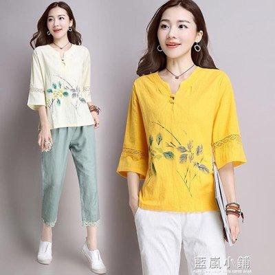 中國古裝棉麻T恤衫女夏民族風印花寬鬆大碼遮肚子中式盤扣V領上衣