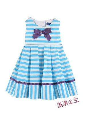 ($450起標) 淇淇公主-澳洲pumpkin patch ~女寶天空藍條紋蝴蝶結 洋裝 連衣裙  (現貨)12-18M