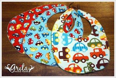 ♥grita's handmade♥純棉手作嬰幼兒圍兜兜/口水巾/三角巾/彌月禮—小汽車系列