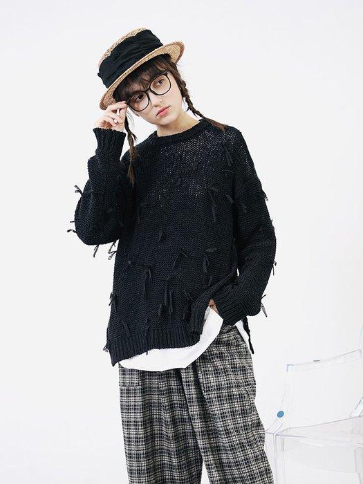 【鈷藍家】甜美個性原創黑色流蘇毛衣女秋季寬松百搭休閑針織衫套頭織物上衣