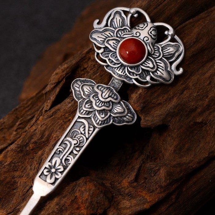 周可可 925純銀磨砂飾品精美民族風發飾手工鑲嵌人造南紅復古發簪 ZC4918