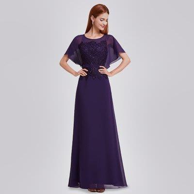 大小姐時尚精品屋~~主婚人婆婆媽媽高腰寬袖顯瘦修身長禮服 ~3件免郵