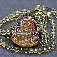 緬甸琥珀 緬甸血珀 金紅珀仿古龍牌+金藍套鍊