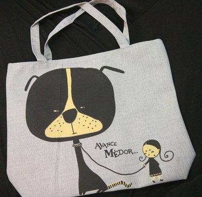 品 帆布 女孩與狗 休閒大包包 簡約 布包 單肩 收納袋 袋 側背包 可提式 灰色 拉鏈式 可面交