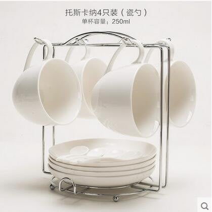 瑤華 陶瓷杯歐式咖啡杯套裝簡約黃金鑲邊創意4件套咖啡杯碟勺架子