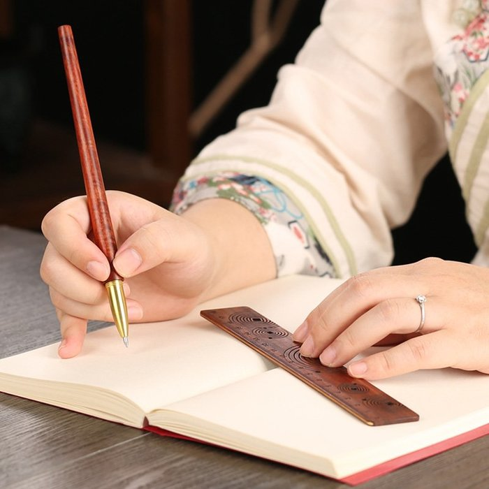 紅木簽字筆直尺創意套裝 中性筆金屬黃銅筆商務禮品定制刻字logo