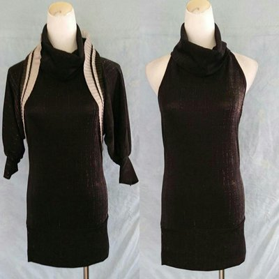 💖思賢&衣櫃💖 黑色時尚 氣質混蔥七分袖高領兩件式連身裙 ( S l Z E:F號 ) # 372 [現貨]