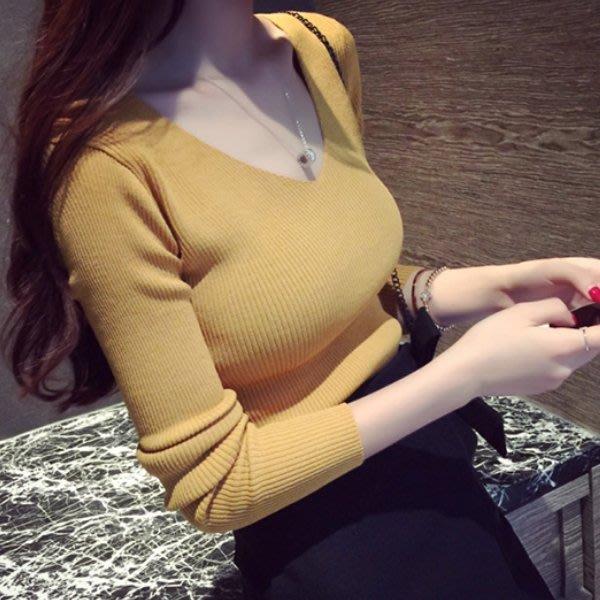 秋冬內搭必備毛衣針織衫 前後雙V領修身長袖針織上衣 艾爾莎【TAE8001】