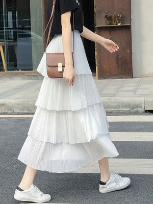 多層次雪紡蛋糕裙女春夏季顯瘦韓版學生百褶層層半身裙中長款裙子