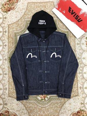Evisu福神19ss男士筆刷標誌連帽牛仔夾克 size S-XXL
