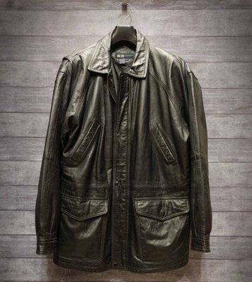 牛皮製 R&R CASUALS 黑色 軍裝真皮短大衣 L號