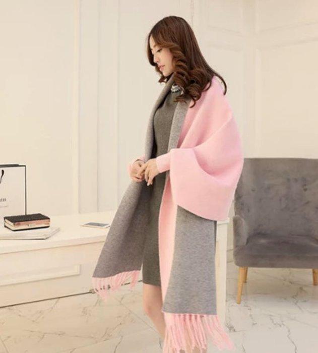 DB 韓版氣質大氣貂絨針織長外套流蘇披肩圍巾款大衣 粉紅 灰色 現貨