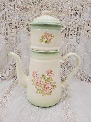 鄉村童話 imane 玫瑰 琺瑯 雙層 咖啡壺 復古 兩段式 咖啡壺 spring rose 日本製