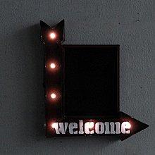LOFT工業風牆面裝飾WELCOME LED燈招牌 鐵製粉筆黑板標誌標示歡迎光臨燈飾 美式街頭萬用燈牌燈排 壁掛式電子燈