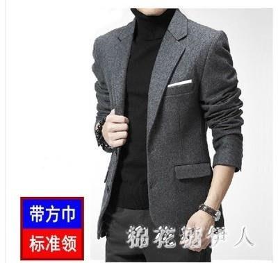 中大尺碼西裝外套 秋冬修身羊毛呢男休閒呢子小西裝潮真側袋 AW5949