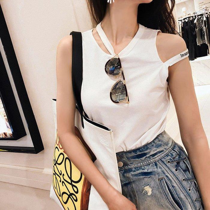 《巴黎拜金女》字母性感露肩外穿女白色吊帶小背心內搭打底衫