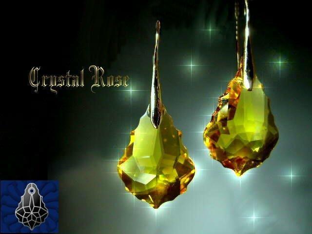 ※水晶玫瑰※ SWAROVSKI 大巴洛克葉水晶吊墜 鍍金耳勾式耳環(DD037)~9色可選
