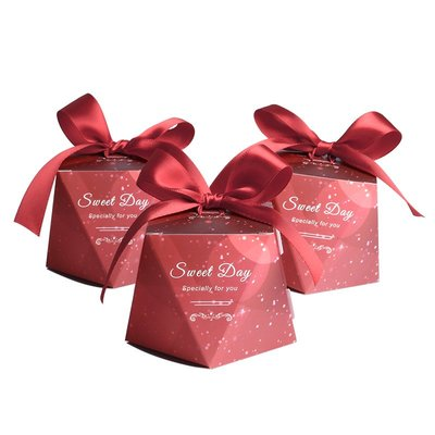 阿里家 億人 新款紅色系喜糖鉆石型喜糖盒婚禮喜糖包裝盒費列羅喜糖盒/訂單滿200元出貨