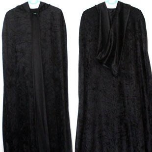 仕彩 萬聖節披風 絨毛長披風 成人黑色帶帽披風 萬聖節活動用品  Cosplay服