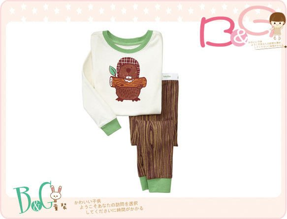 【B& G童裝】正品美國進口GAP Beaver sleep set 海狸圖樣長袖長褲一套睡衣組2,3,4,5yrs