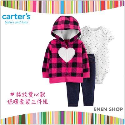 『Enen Shop』@Carters 格紋愛心款保暖套裝三件組 #18516510|12M/18M/24M
