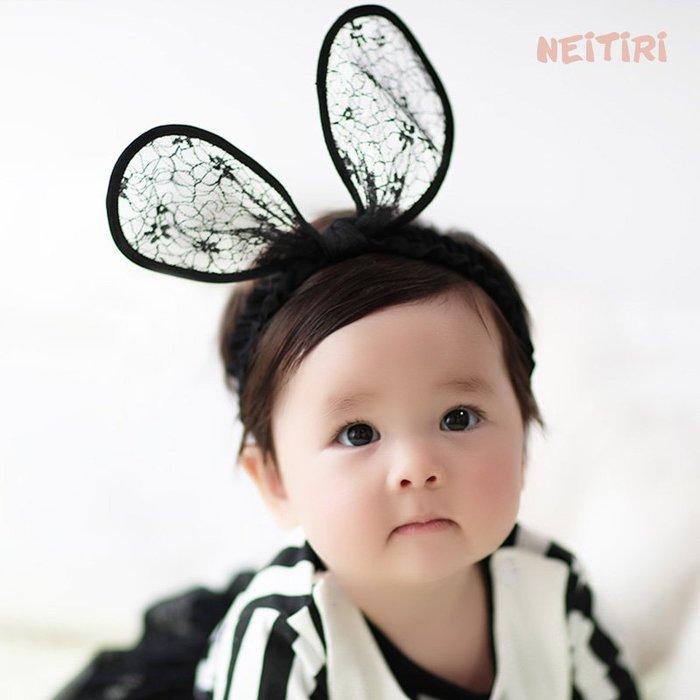☆草莓花園☆B55新款兒童髮飾 寶寶嬰兒網狀耳朵髮帶  造型周歲照 藝術照