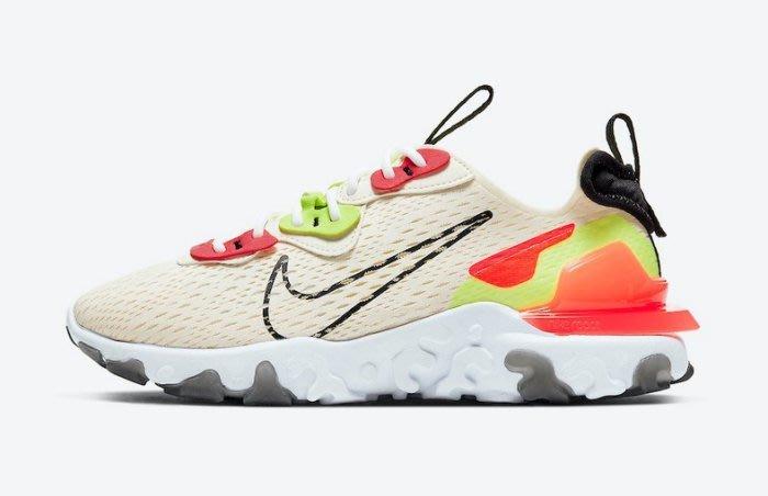 南◇2020 6月 Nike W React Vision 米白色螢光/紅 女鞋 CI7523-100 慢跑 透氣 舒適
