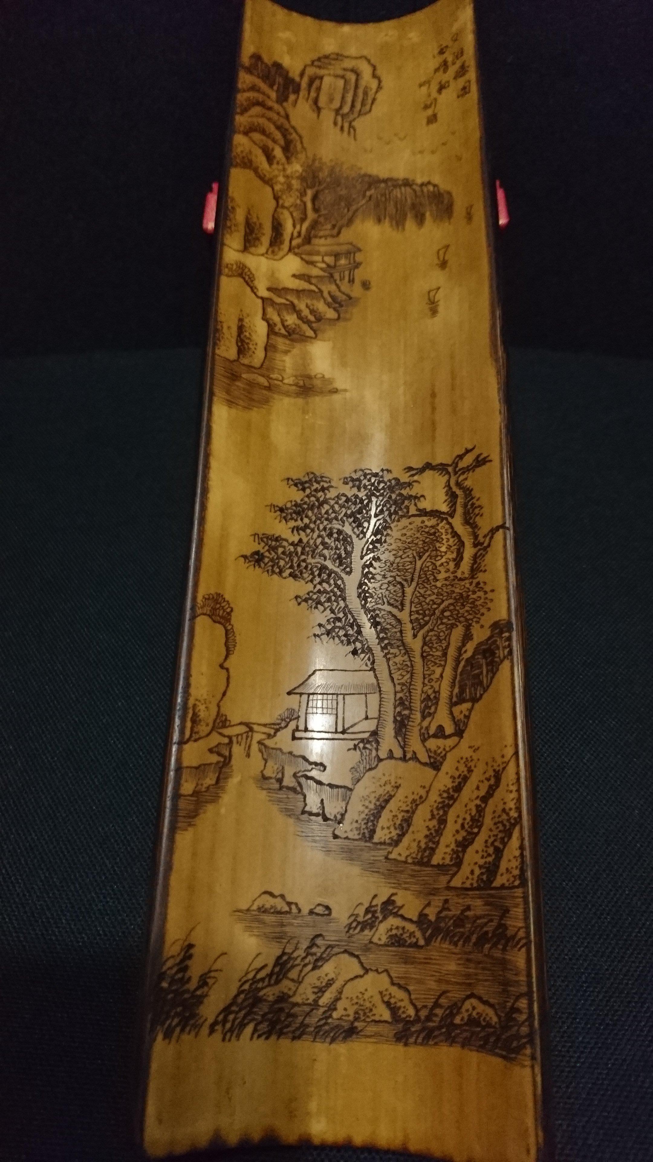早期老件 一 全手工精雕 一 山水樓閣 仰之刻 竹臂擱 竹則 茶則