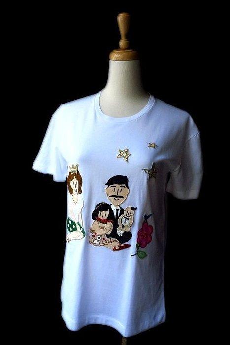 *Beauty*DOLCE&GABBANA全家福白色短袖棉T恤 36號  10000元WE17