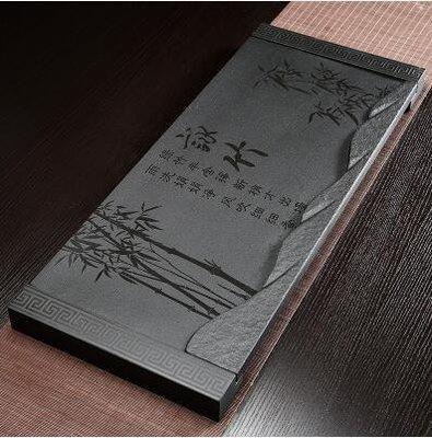 【優上】詠竹加石底座28寬烏金石茶磐石頭茶盤天然黑金石茶臺