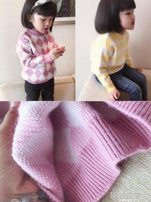 童裝女童秋裝2019新款韓版撞色菱形格子休閒針織衫氣質套頭毛衣
