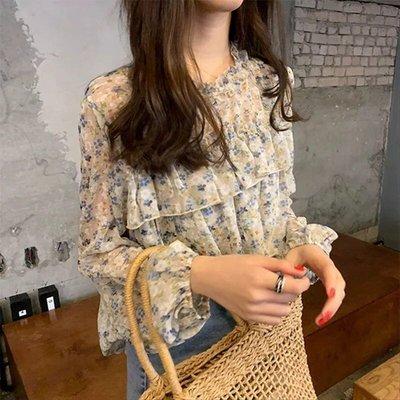 正韓 韓國連線 法式浪漫荷葉邊雪紡碎花襯衫上衣