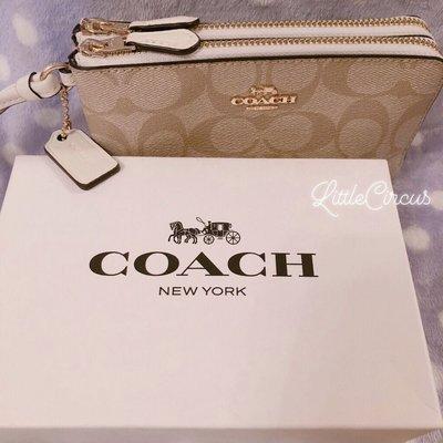 [正品現貨] Coach 奶茶色經典logo款 雙層拉鏈 皮革 銀包 手提袋 有卡位 配象牙白色邊