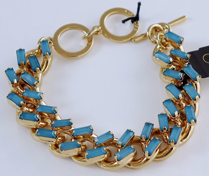 全新美國帶回 CAROLEE 金色藍色細緻閃亮華麗款手環手鍊,很醒目喔!附原廠防塵袋與禮盒,只有一件!無底價!免運費!