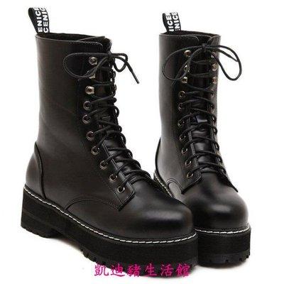 【凱迪豬生活館】歐美新款中筒靴子厚底高跟靴子 防水臺系帶靴子 馬丁靴子-黑3539KTZ-201007
