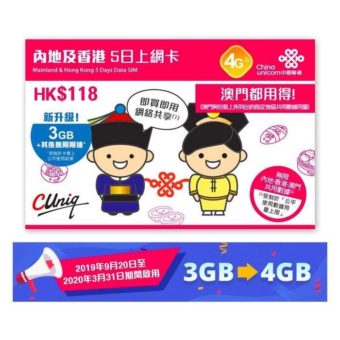 【杰元生活館】大陸 香港 澳門  中港 上網卡 5日3GB流量,中國大陸 上網卡 可熱點分享 無語音功