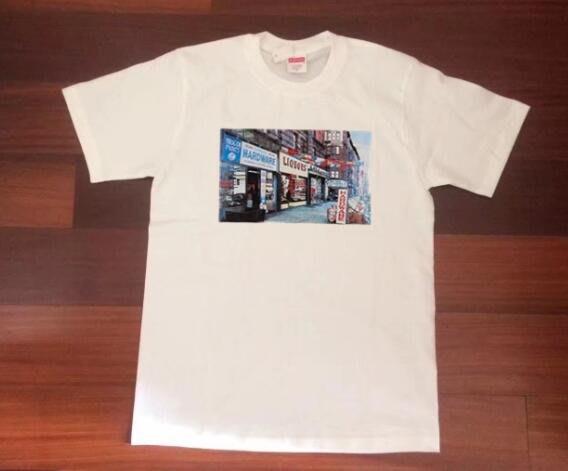 supreme  2018款紐約五金店街景圓筒短袖T恤tee