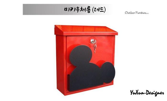 迪士尼同款米奇信箱 郵筒 POST 壁掛信箱 貿易日本韓國 米奇頭可夾廣告單 紅白二色可選 宥薰設計家