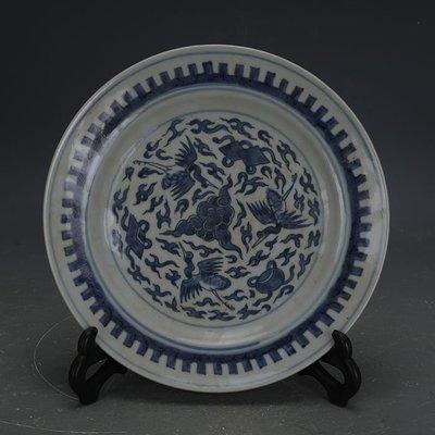 ㊣姥姥的寶藏㊣ 大清光緒青花手工瓷仙鶴紋瓷盤  民窯古瓷器古玩古董收藏擺件