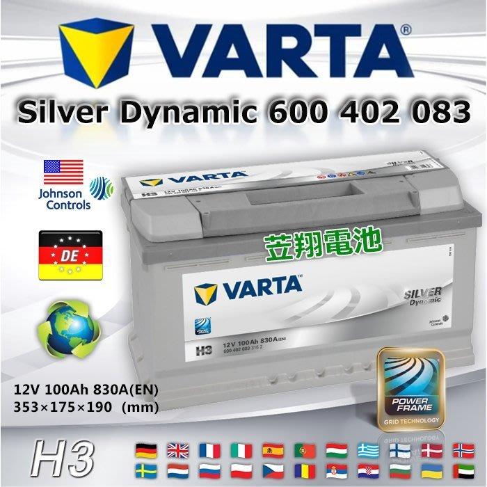 ☼ 台中苙翔電池 ►德國VARTA電瓶(H3 100AH) 60038 C180 C200 C230 C240 C280