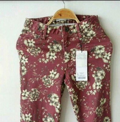 日本專櫃moussy 復古暗磚紅印花彈性造型褲/內搭褲