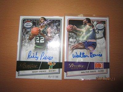 網拍讀賣~Walter Davis/ Ricky Pierce~限量簽名卡/199~貼紙簽~共2張~700元~輕鬆付~