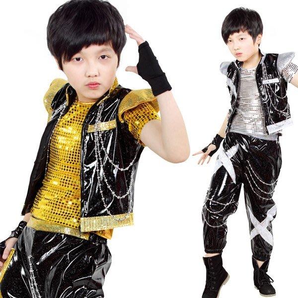 5Cgo【鴿樓】會員有優惠   37773367645 兒童現代舞表演服裝亮片男童爵士舞街舞演出服勁舞搖滾 兒童舞衣