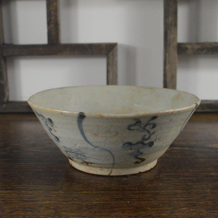 百寶軒 仿古瓷器復古明中期風格青花花卉紋碗茶碗古玩擺件博古陳設 ZK2099