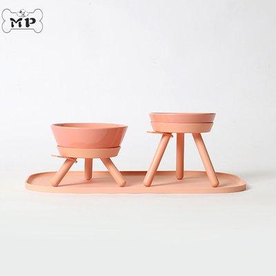 『Memory Pet』韓國代購Inherent貓狗碗寵物粉色三腳桌陶瓷碗餐墊